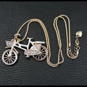 🆕💋Let's Ride White Crystal Bicycle Pendant